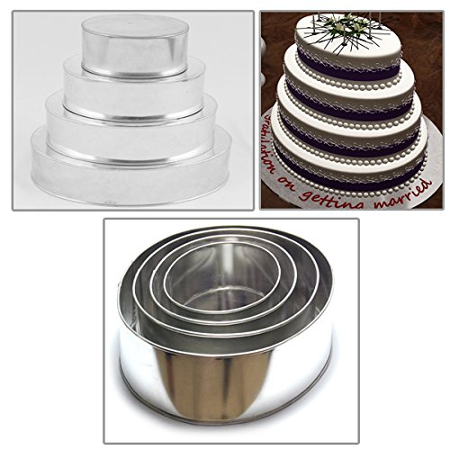 4 Tier Oval Multilayer Birthday Wedding Anniversary Cake Tins Pans 6