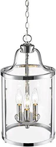 Golden Lighting 1157-3P CH Pendant with Clear Glass Shades, Chrome Finish