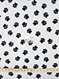 "WHITE BLACK ANIMAL PAW PRINT POLAR FLEECE FABRIC 60"" WIDTH SOLD BY THE YARD 147"