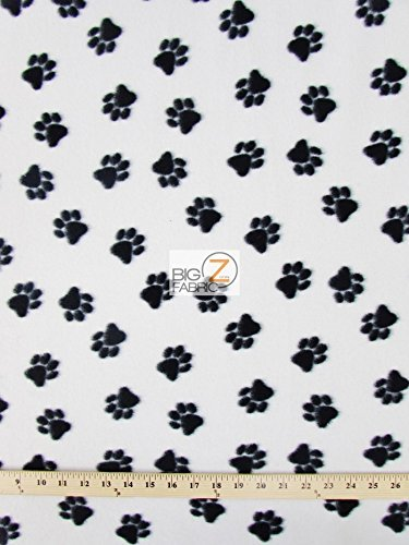 Big Z Fabric WHITE BLACK ANIMAL PAW PRINT POLAR FLEECE FABRIC 60