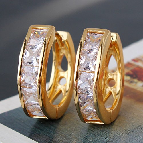 GULICX Jewelry Yellow Gold Tone Square White Crystal Partys Newdest Jewelry GirlHoop Earring
