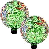 Sunnydaze Green Artistic Glass Gazing Ball Globe, 10-Inch, Set of 2