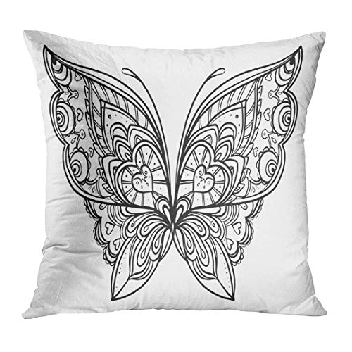 2019 new fashion Throw Pillow Cover Black Color Butterfly Zentangle Style Inspired Tattoo Coloring Book and Adults White Page Drawing Decorative Pillow Case Home Decor Square 18x18es -