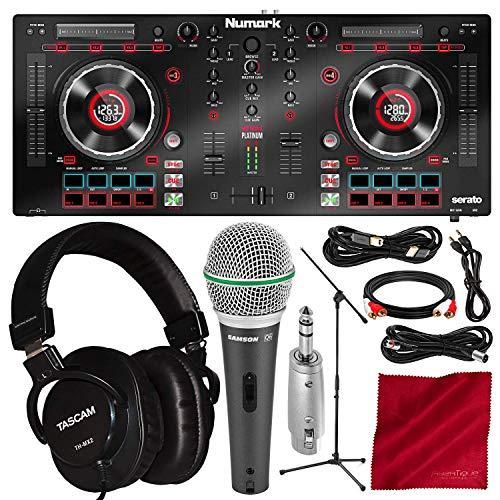 - Numark Mixtrack Platinum DJ Controller with Jog Wheel Display and Headphones + Microphone Platinum Bundle