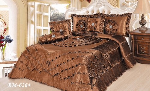 Tache 6 Piece Luxurious Brown Chocolate Waterfall Ruffle Comforter Quilt Set, King (Wonka Chocolate Waterfall)