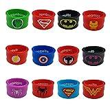 Superhero Slap Bracelets for Kids Boys & Girls Birthday Party Supplies Favors Wristband Accessories Wrist Strap (12 pack)