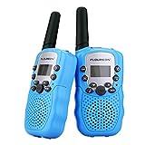 FLOUREON Twin Walkie Talkies for Kids 22 Channel Two Way Radios FRS/GMRS3000m UHF Long Range Built-in Microphone Hand Free Best Walkie Talkie (Blue)