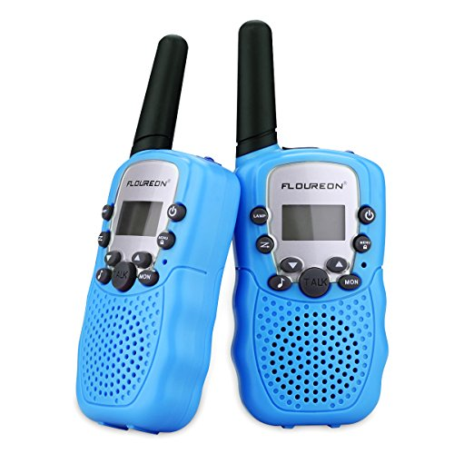 floureon Two Pack 22 Channel Walkie Talkies for Kids Children Two Way Radio 3000M (MAX 5000M Open Field) UHF Long Range Handheld (Blue)