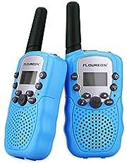 Toy Walkie Talkies, FLOUREON Radio bidireccional para Niños de 8 Canales con Rango de 3Km Larga Distancia, Pantalla LCD(Azul, 1 Par)