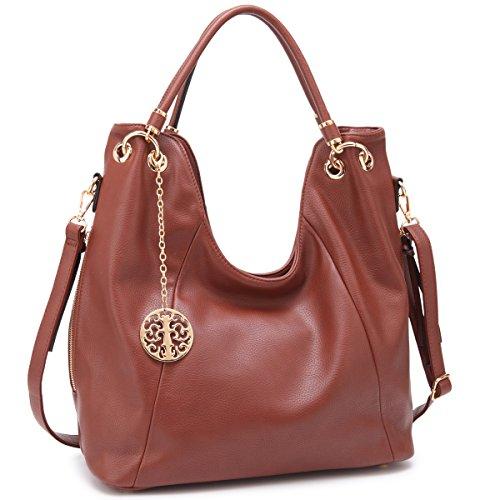 Accented Large Hobo Handbag - Shoulder Hobo Bag Top Zip Purse Fashion Vegan Handbag w/Long Strap Side Zipper Pockets Brown