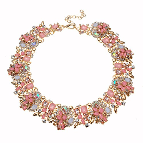 Vintage Gold Tone Chain Multi-Color Glass Crystal Collar Choker Statement Bib Necklace (Pink3) from Jerollin