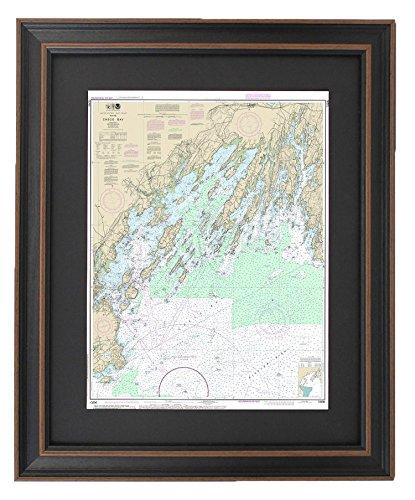 Framed Nautical Chart; Casco Bay