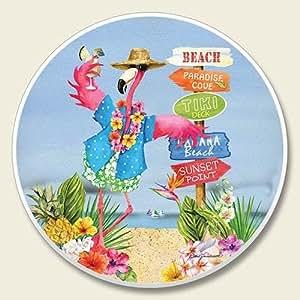 Luau Flamingo Beach Single Auto Coaster