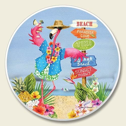Luau Flamingo Beach Single Auto Coaster