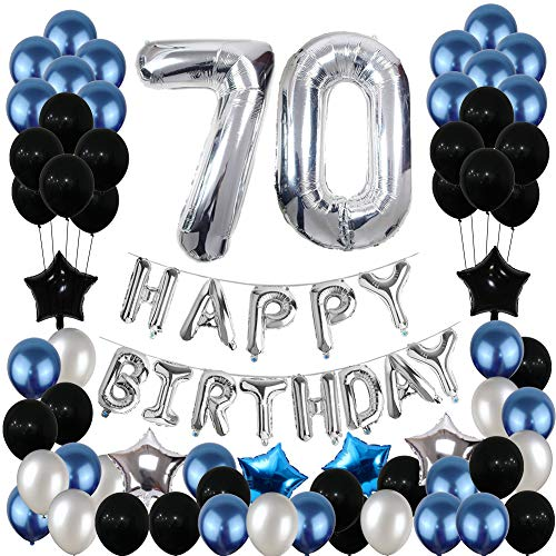 70th Birthday Decorations,70 Birthday Balloons Party Supplies Happy Birthday Banner Blue and Silver Black for Women Men(81PCS) -
