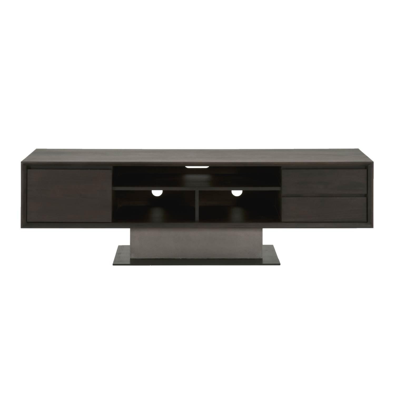 Star International Furniture 4605.SLA-GRY/ESP Cuba TV Unit, Espresso/Slate Grey Concrete/Matte Black Metal