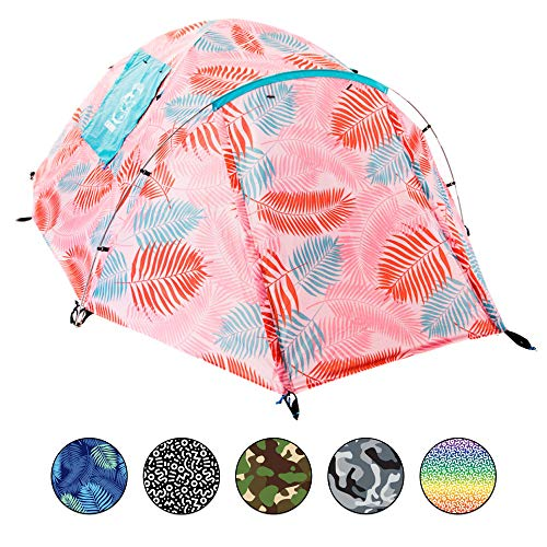 Chillbo CABBINS Camping Tent 2 Person Tent - Two Person Tent for Camping and Music Festivals- Camping Equipment & Tents for Camping - Best Two Man Tent and Camping Gear for Men Pink Leaf
