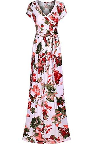 (Bon Rosy Women's Short Sleeve V-Neck Floral Maxi Bohemian Wrap Dress White Peach M)