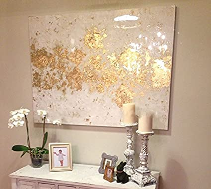 Amazoncom Fchen Art Artist Hand Painted Abstract White And Gold