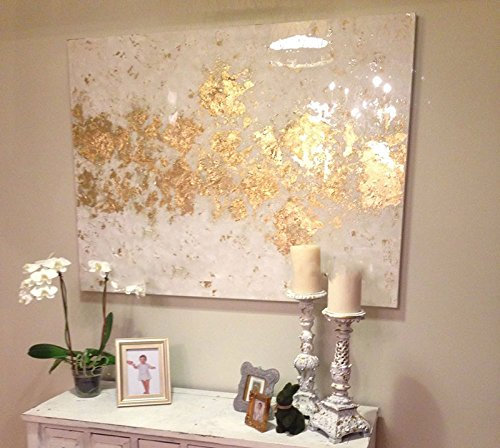 Fchen Art Artist Hand-Painted Abstract White and Gold Oil Painting on Canvas Beautiful Modern Unique Canvas Painting Framed Ready to Hang 24x36inch (Art Gold Canvas)