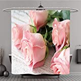 Iprint Shower Curtain 376464961 Vintage background postcard greeting card. Pink roses on white textured wooden background. Close up. Valentine Polyester Fabric bath curtain