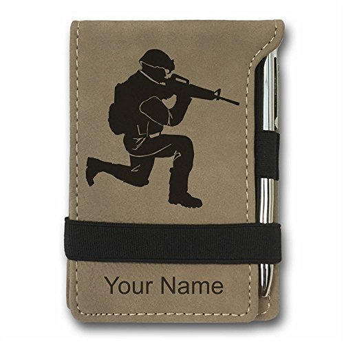 Mini Notepad, Military Soldier, Personalized Engraving Included (Light - Button Mini Soldier