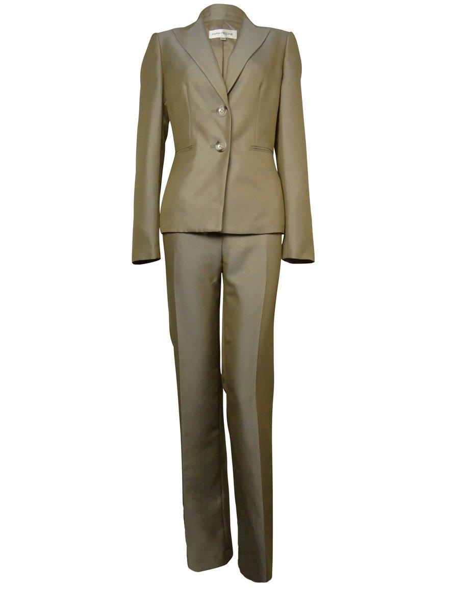Evan Picone Women's Herringbone Park Avenue Pant Suit (16, Taupe)