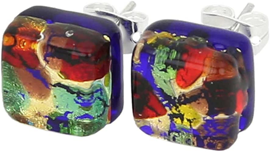 GlassOfVenice Murano Glass Venetian Reflections Square Stud Earrings Red Gold