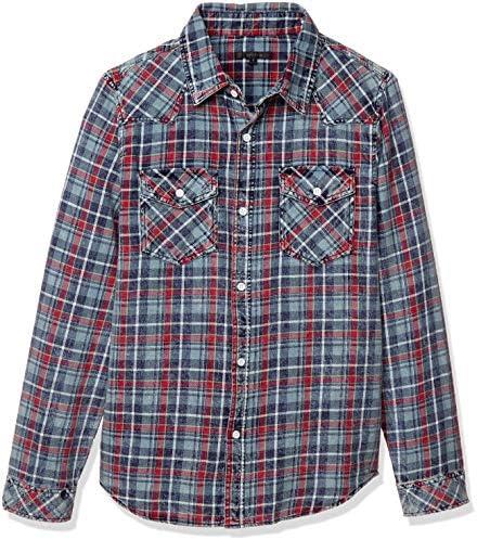 チェックシャツ BIKE STAR インディゴケミカルウォッシュ チェック柄レギュラーカラー長袖シャツ