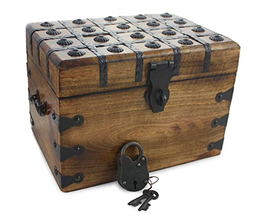 Chest Accent Midnight (Well Pack Box Large Antique Style Wooden Pirate Treasure Chest Strong Box With Authentic Iron Master Lock And Skeleton Key)