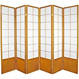 Oriental Furniture 6 ft. Tall Zen Shoji Screen - Honey - 6 Panels
