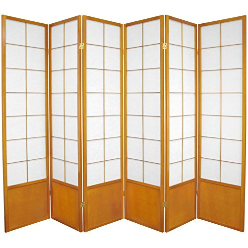 Oriental Furniture 6 ft. Tall Zen Shoji Screen - Honey - 6 (Accordian Panel)
