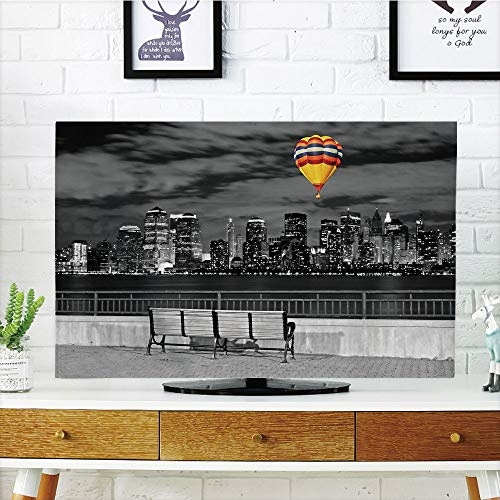 (LCD TV Cover Lovely,Black and White Decorations,NYC Skyline from Liberty State Park Vibrant Air Balloon in Sky,Multicolor,Diversified Design Compatible 50