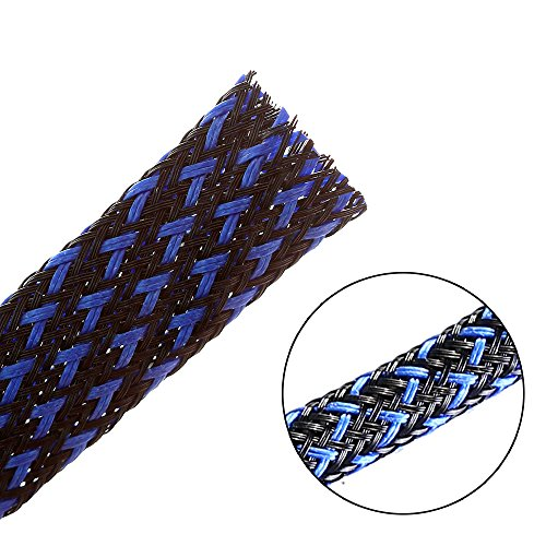 25ft - 1/4 inch Flexo PET Expandable Braided Sleeving - BlackBlue - Alex Tech Braided Cable Sleeve