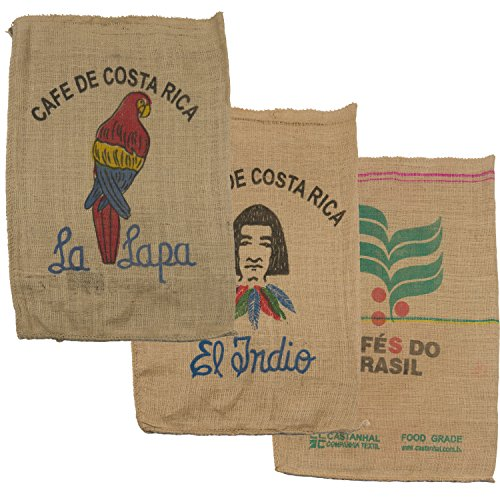 Dizziness Vendibles Used Burlap Coffee Bags (3 pack) for crafts, decorations, wall art, or other projects (Mix)