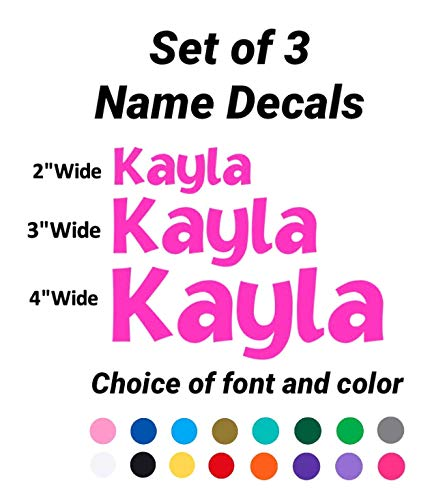 SET of 3 Personalized Name Decal Stickers - FREE SAME DAY SHIPPING* - Set of 3 Custom Vinyl Name Decals - 2