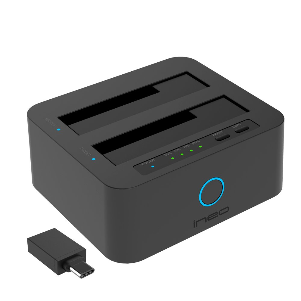 ineo USB3.1 Gen1 to SATA Dual-Bay 2.5'' or 3.5'' HDD / SSD with Offline Duplicate / Clone Hard Drive Docking Station plus a free USB type C adapter[T3527-VIII+]