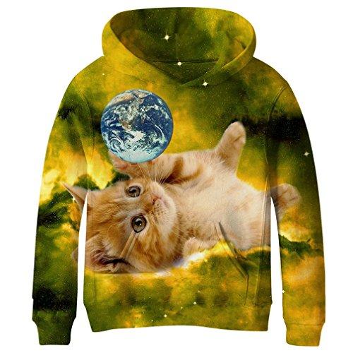 SAYM Teen Boys' Galaxy Fleece Sweatshirts Pocket Pullover Hoodies 4-16Y NO40 ()