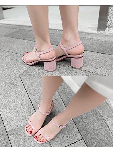Sandali Il 36 Alla Cinturino Con Partito Caviglia Donne Metà Rosa Largo colore Nuove Cinturino Dimensioni Basso Rosso Tacco Lvzaixi q8TxI7wx
