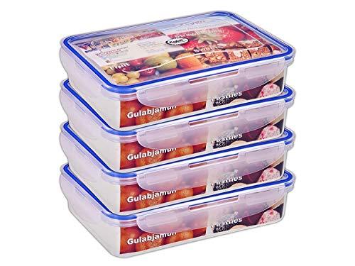 zadoli 1-MLC900SQRCONT_D04 Plastic Air Tight Food Container – 900 ml, Set of 4, Transparent