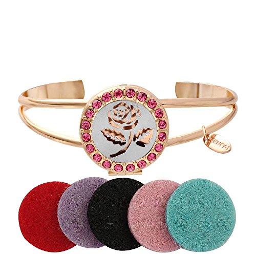 Round Flower Locket - SENFAI Fashion Jewelry Engrave Rose Flower Tag Round Box Locket Bangles Essential Oil Aromatherapy Diffuser Cuff Bangle Bracelet (rose gold color)