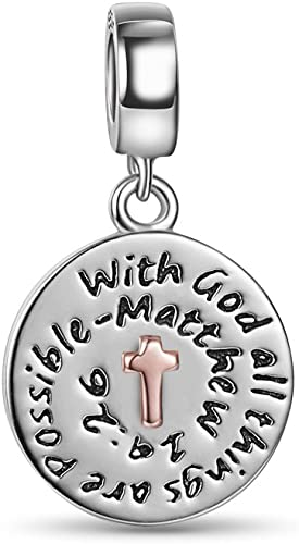 """/""""With god all things are possible/"""" Charm Pendant For Bracelet Necklace-European"""