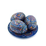 SAV 3 Hand Painted 2,5'' Wooden Polish Ukrainian Geometry ornament Easter Eggs (Pysanky) On Plate (Blue)