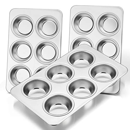 Muffin Pan Set of 3, E-far Stainless Steel Muffin Pan Tin for Baking, 6-Cup Metal Cupcake Pan Tray, Non-toxic & Healthy…