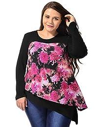 Allegra K Women Plus Size Floral Prints Asymmetric Hem Layered Tunic Top