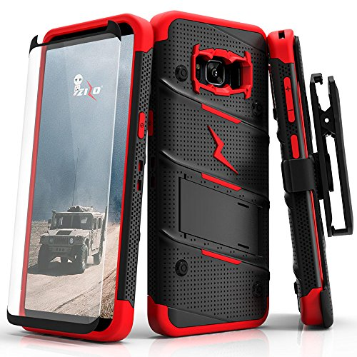 Samsung Galaxy S8 Case, Zizo [Bolt Series] w/ [Galaxy S8 Screen Protector] Kickstand [12 ft. Military Grade Drop Tested] Holster Belt Clip - Galaxy S8 Black/Red (Best Case For Samsung Galaxy S8)