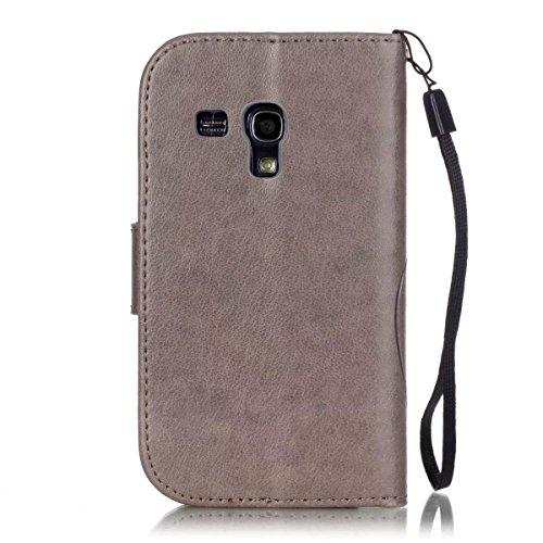 SRY-Funda móvil Samsung Funda Samsung 8190, caja de cuero de la PU Premium Funda Folio Flip Funda de cuero en relieve para Samsung 8190 ( Color : Blue , Size : Samsung 8190 ) Gray