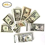XDOWMO 140Pcs Prop Money Play Money Game Realistic Paper Money Full Print 2 Sided for Kids, Students, Movie, Pranks, Birthday Party, Play Board Games, Photography
