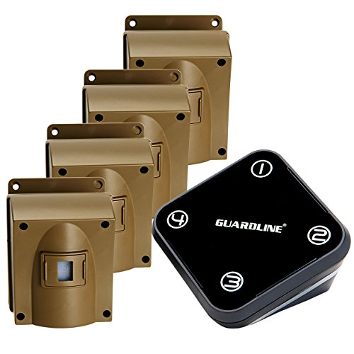 (Guardline Wireless Driveway Alarm w/Four Sensors Kit Outdoor Weather Resistant Motion Sensor/Detector- Best DIY Security Alert System- Protect Home, Perimeter, Yard, Garage, Gate, Pool)