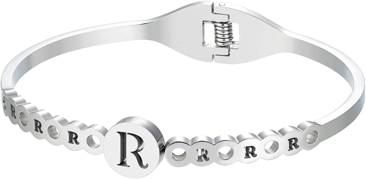 Quality Guaranteed BIJOUX BOBBI Gift Packaging Alphabet Initial//Letter Bangle Bracelet Stainless Steel